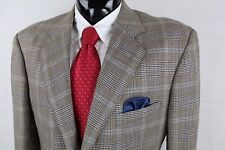 DAVID AUGUST COUTURE (46L) Mens Brown Blue Plaid Wool 3 Bttn Sport Coat Surgical