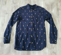 J. Crew Women's Button Front Navy Pitbull Staffordshire Dog Career Blouse Size 4