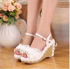 Lolita Princess Womens Girls Lace Bow Wedge Heel Platform Strap Mary Jane Shoes