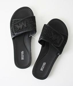 Michael Kors Sandals Palmer Slide Mesh Size US 6 7 Black