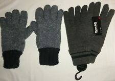 2 PAIRS MENS THERMAL GLOVES THINSULATE FLEECE LINED CHUNKY KNIT INSULATION BLUE