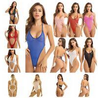 Women Crotchless Swimwear Bikini Backless Thong Leotard Bodysuit Nightwear US