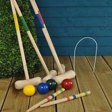 4 Play Croquet Set Wooden Game Outdoor Activities Garden Mallet Ball Toy Family