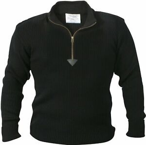 Black Acrylic Commando Military Quarter Zip Sweater with Suede Patches
