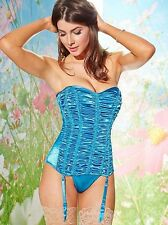 NEW $70 FREDERICKS OF HOLLYWOOD BLUE RUCHED STRAPLESS CORSET SZ XL EXTRA LARGE