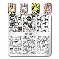 BORN PRETTY Square Nail Stamping Plates Cute Cat Crown Bowknot Image Templates