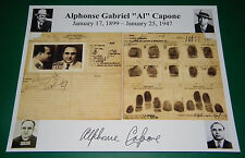 Al Capone Arrest Record Reprint Signed Display Sheet Copy American Gangster FBI