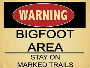 Retro Tin Signs Warning Bigfoot Area Poster Metal Plate Wall Decor