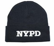 NYPD WINTER BEANIE KNIT CAP HAT NEW YORK OFFICIAL LICENSED EMBROIDERED NAVY BLUE
