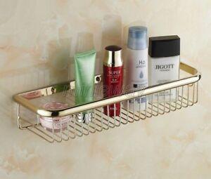 450mm Gold Color Brass Wall Mounted Bathroom Shower Shelf Storage Basket mba096