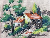SALE! Cabin Scene Rural Barns Barkcloth Era Vintage Fabric Drape Curtain Farm