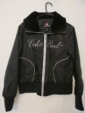 Women's Ecko Red Winter Jacket Fur Collar Black with Silver Logo Size Large NICE