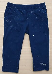 DKNY Baby Girls Leggings Navy Blue Silver Metallic Print Cotton Blend 12 Months