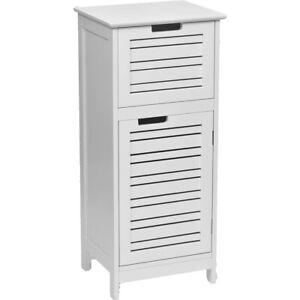 Evideco Free Standing Floor Cabinet 1 door with Shelves Bath Storage Linen Tower