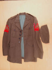 USMC MARINE CORPS JACKET Coat with hat cap,*no belt,serge,green,united states,us