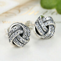 New Authentic S925 Sterling Silver Lovely Knot Stud Earrings w/Clear CZ Accents