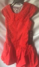 Isobella & Chloe Girls Red Lace & Taffeta Drop Waist Ballon Bottom Dress Sz 5