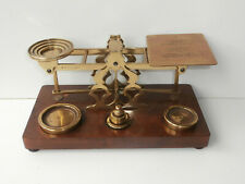 Vintage S.Mordan & Co. Brass & Wood Letter Post Postal Scales with Weights