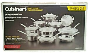 Cuisinart Chef's Classic Cookware Set 17 Piece Stainless Steel Model 77-17N