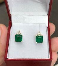 2.92tcw Beautiful Everyday Emerald & Diamond Accent Stud Earrings 14K