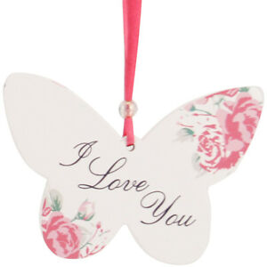 I LOVE YOU Hanging Posies Butterfly / Friendship Hanging Plaque / Gift Present