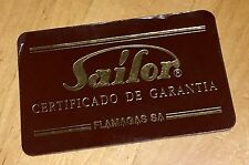 SAILOR International Warranty Guarantee Certificado de Garantia Pluma Boligrafo