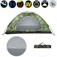 2 Person Camouflage Tent Outdoor Camping Hiking Camo Waterproof Backpacking USA
