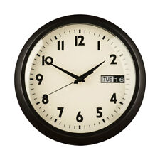 Premier Housewares Retro Home Wall Clock, Black Metal with Day & Date