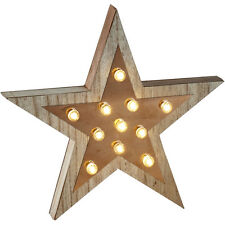Wooden Retro Star Light Up Sign Carnival Fairground Trend Wall Decoration