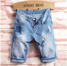 NEW Men Denim Biker Jean Shorts Jeans Ripped Distressed Rip Acid Washed Blue