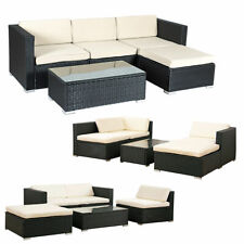 5 PCS Patio Furniture Set Rattan Wicker Table Shelf Garden Sofa W/ Cushion Black