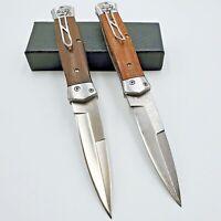 Folding Pocket Knife Damascus Blade 17Cr17Mov Blade Wood Handle Hunting Knife