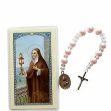 Saint Clare of Assisi Majorca Pearls, Beads, Findings, Chaplet and Prayer Card