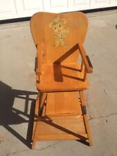 Vintage Wood Convertible WORKING High Chair Table, Sturdy and Solid baby line