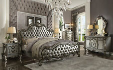 Old World Platinum Gray Bedroom Furniture - 5pcs Queen Leatherette Bed Set IAAN