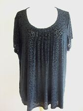 MARKS & SPENCER BLACK VELOUR ANIMAL PRINT TOP SIZE 24
