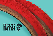 "Kenda Comp 3 III old school BMX skinwall gumwall tires 20"" X 2.125"" RED (PAIR)"