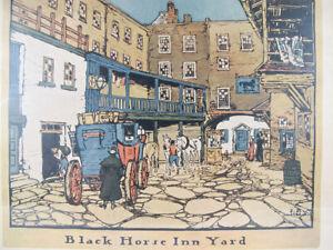 Antique 1909 Robert Smith Ale Ad Black Horse Inn Yard Lithograph Print #3/4 yqz