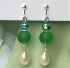 FREE SHIP Crystal Pearl Green Frosted Glass Bead CLIP ON Dangle Earrings 2.4""