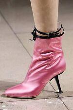 MIU MIU F/W 2014 RUNWAY Yellow Silk Satin Metal Stiletto Boots Shoes IT39/US9