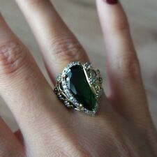 TURKISH HANDMADE STERLING SILVER 925K AND BRONZ EMERALD RING SIZE 6,7,8,9