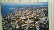 BRIGHT AIR VIEW PHOTO POST CARD OVER THE CITY OF SEATTLE WASHINGTON