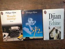 Lot de 3 livres de  Philippe Djian Maudit manège -  37°2 le matin - Ecchine