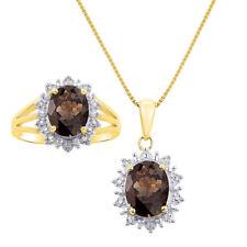 Princess Diana Inspired Halo Diamond & Smoky Quartz Matching Pendant Necklace a