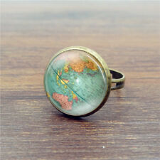 Vintage Earth Planet Global World Map Dome Glass Finger Rings Gift Jewelry