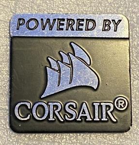 Powered by Corsair Logo Badge  - Metal Flat Style