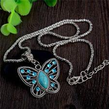 Vintage Hermosa mariposa Rhinestone Colgante Collar Regalo Cadena Suéter largo reino unido