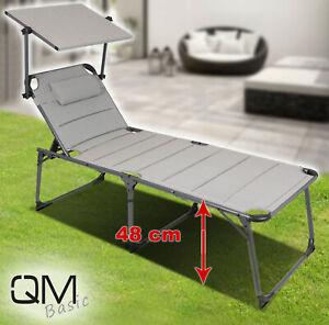 QMBasic XXL SONNENLIEGE Komforthöhe 48 cm Sonnendach Alu Gartenliege Concrete
