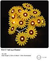 *NEW* String 16 FELT SUNFLOWER FLOWERS Battery Operated LED Fairy Lights
