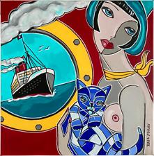 """Tableau peinture Kris Milvy Art Déco """"Doux Voyage"""" Paquebot Chat Nu 40 x 40 cm"""